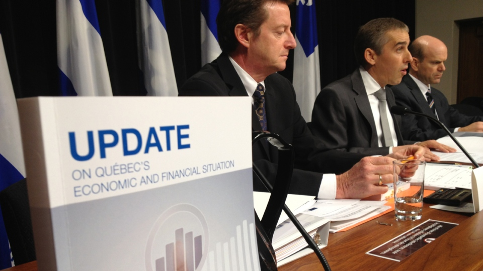 Quebec Finance Minister Nicolas Marceau presents his fall fiscal update on Nov. 28, 2013 (CTV Montreal/Fred Bissonnette)
