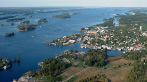 This photo provided by the Alexandria Bay Chamber of Commerce shows a 2002 aerial view of Alexandria Bay in the Thousand Islands region of New York. (AP Photo/Alexandria Bay Chamber of Commerce, Thomas Weldon)