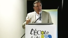 Francois Legault spoke to students Saturday August 20, but not all were sold on his message.