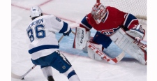 Montreal Canadiens goalie Carey Price eyes the puc