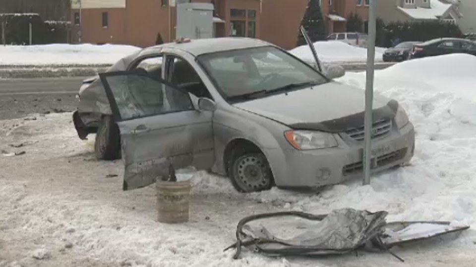 Three occupants of this car were badly hurt when they were rammed by a police car. The five-year-old boy later died of his injuries. (Feb. 13, 2014)