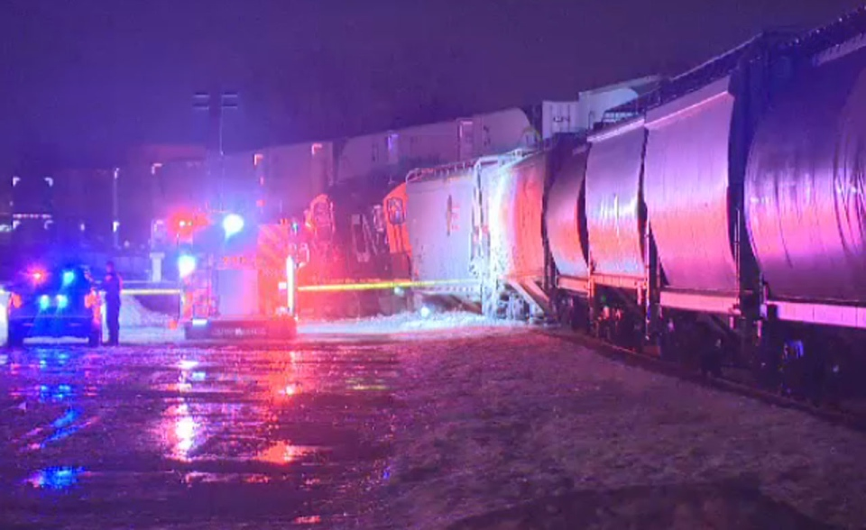 Crews are cleaning up after a CN train slipped off the tracks in St. Henri, spilling diesel fuel from the engine.