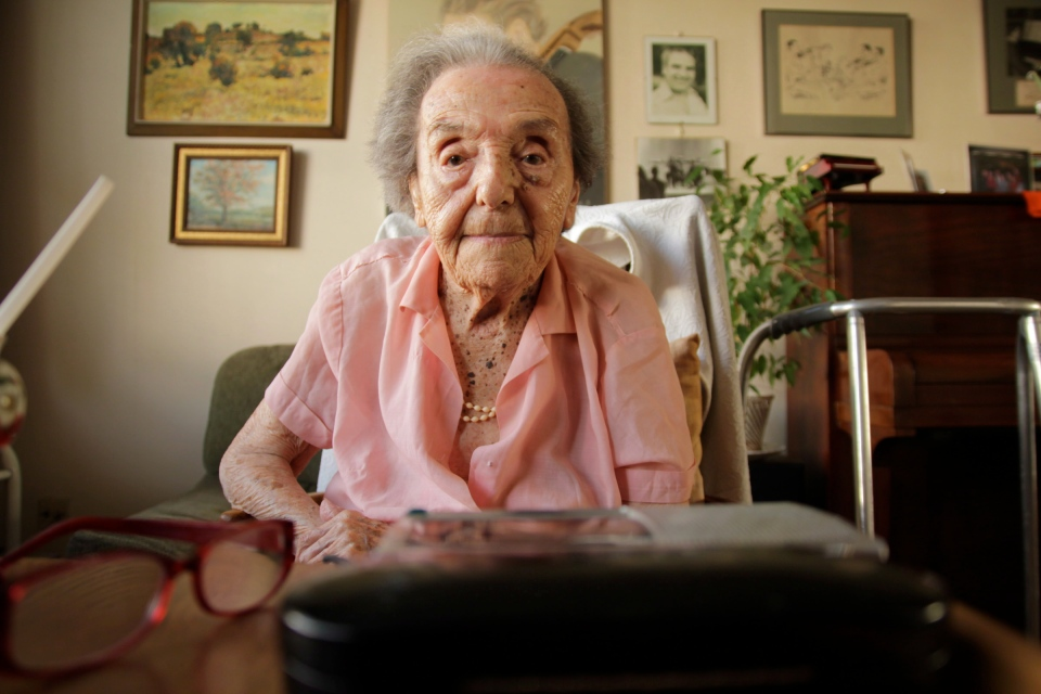 Alice Herz-Sommer is shown in a handout photo from the film 'The Lady in Number 6.' The film tells the story of 110-year-old Herz-Sommer, described as the world's oldest living pianist and the oldest survivor of the Holocaust. (Kieran Crilly)