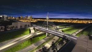 The new St. Jacques St. Bridge, as portrayed by Transport Quebec, in this view looking east. The McGill superhospital is on the far left of the photo.