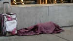 A homeless man sleeps in downtown Montreal. (Photo: Jean-Luc Boulch/CTV Montreal)