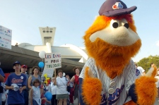 Montreal Expos fans cheer with team mascot You