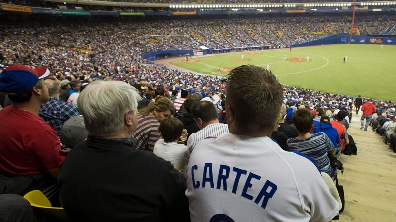 A fan wears a Gary Carter Montreal Expos uniform as he watches the Toronto Blue Jays in a pre-season baseball game against the New York Mets Friday, March 28, 2014 in Montreal.THE CANADIAN PRESS/Ryan Remiorz