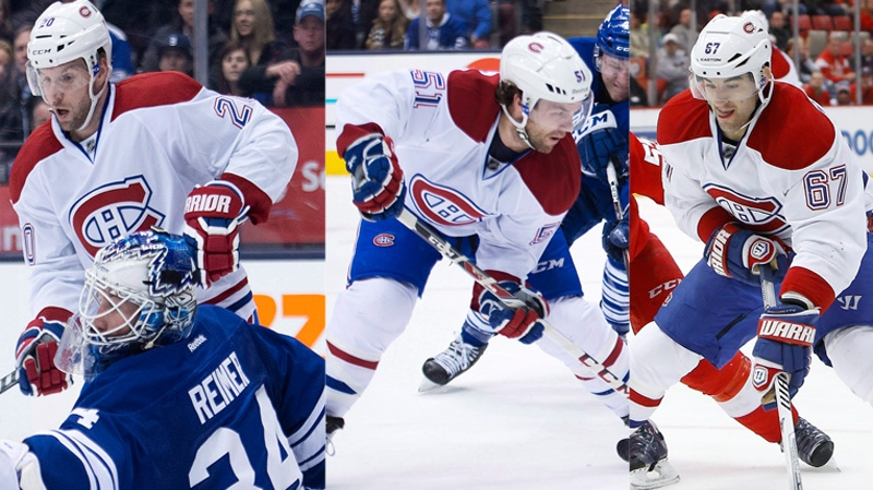 The Canadiens' top line of Thomas Vanek (left) David Desharnais and Mike Pacioretty hope to keep up their torrid pace in Florida Saturday. (CP file photos)