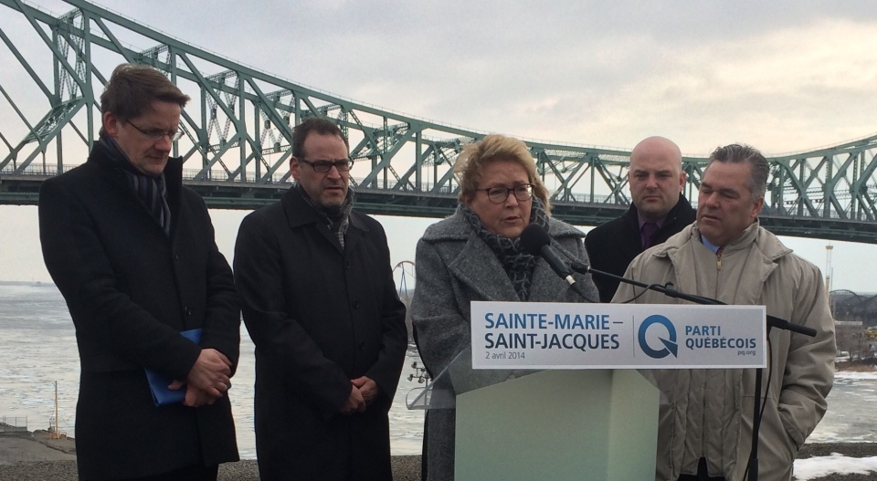 At an announcement in Montreal Wednesday, April 2, 2014, Parti Quebecois Leader Pauline Marois said a PQ government would try to make sure no one loses their job over the Charter of Values. (CTV Montreal/ Frederic Bissonnette)