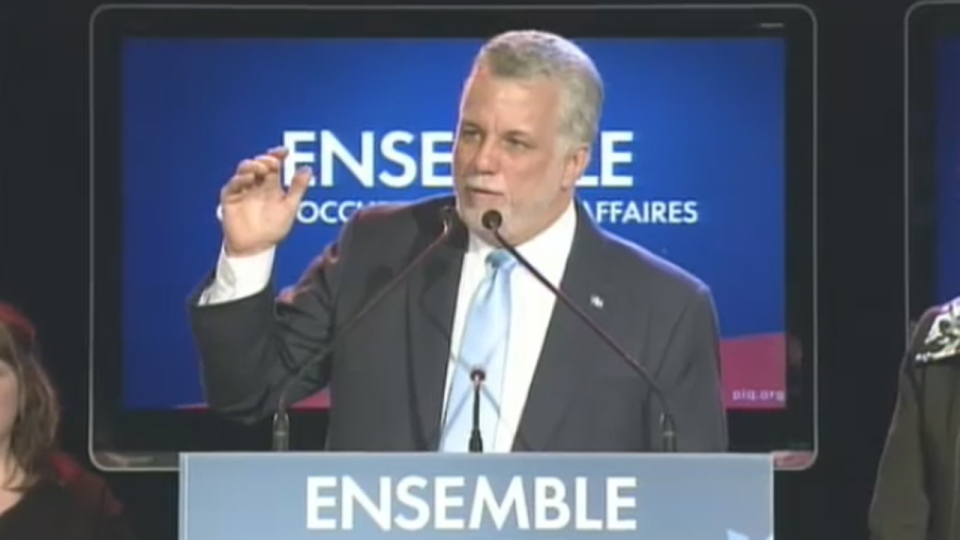 Premier-elect Philippe Couillard thanks Quebecers after winning the 2014 election