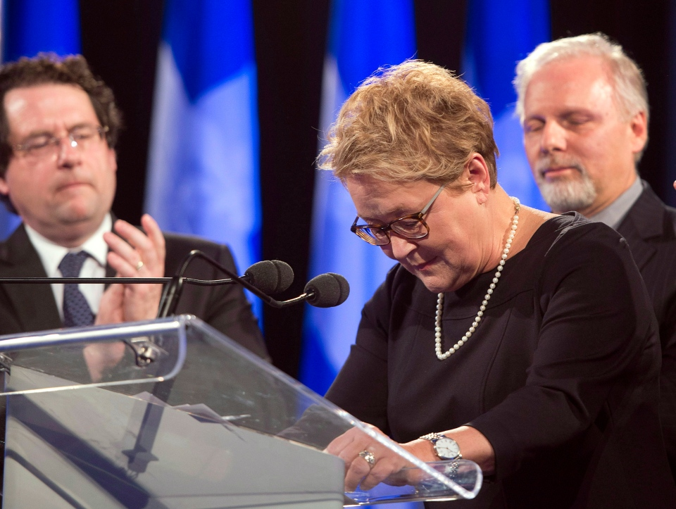 Parti Quebecois Leader Pauline Marois announces her resignation during her speech to supporters on Monday, April 7, 2014 in Montreal, Que. THE CANADIAN PRESS/Ryan Remiorz