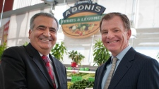 Jamil Cheaib, one of the three founders of Adonis shakes hands with Eric La Fl�che head of Metro Inc at the announcement of the partnership of the two grocers. PHOTO La Presse Canadienne Images/Metro Inc.