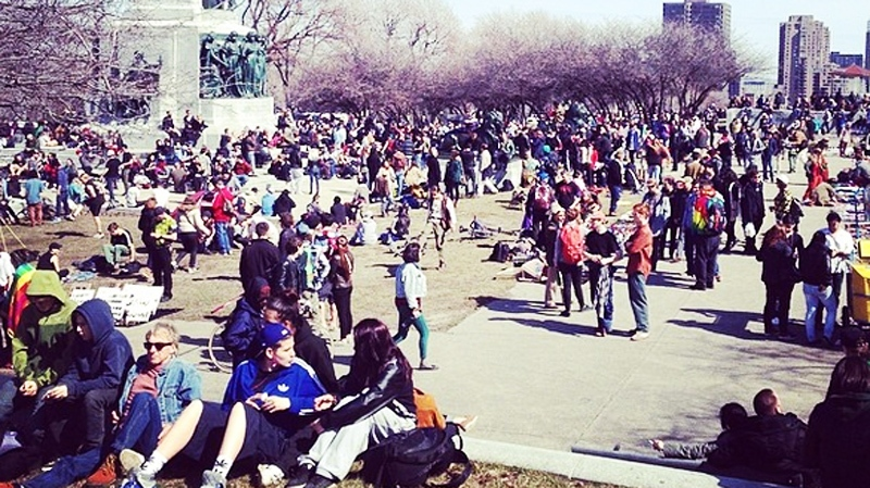 Several hundred assembled on Mount Royal for the 420 event Sunday. (Image credit: blkg33k on Instagram)