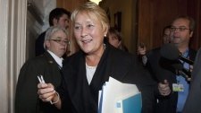Parti Quebecois Leader Pauline Marois is seen entering a caucus meeting in Quebec City on Oct. 26, 2011