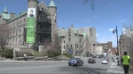 If the province were to approve McGill University's proposal for repurposing the soon-to-be-empty Royal Victoria Hospital, the university would green over the parking lot and remodel the older sections of the hospital.