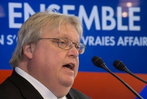 Gaetan Barrette speaks at a news conference in Trois Rivieres, Que., Wednesday, April 2, 2014. (Jacques Boissinot / THE CANADIAN PRESS)
