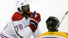Montreal Canadiens defenseman P.K. Subban (76) rea