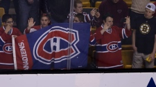 Montreal Canadiens fans watch warm ups prior to Ga