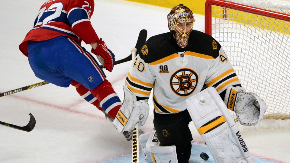 Boston Bruins goalie Tuukka Rask is caught off-guard as Canadien Dale Weise puts the puck in the net on Tuesday, May 6, 2014, in Montreal. (AP Photo/The Canadian Press, Ryan Remiorz)