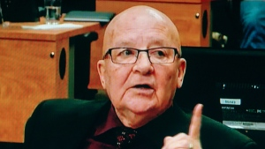Former Quebec Transport Minister Guy Chevrette is seen in a frame grab from the video feed at the Charbonneau inquiry looking into corruption in the Quebec construction industry in Montreal on Friday, May 9, 2014 . (Charbonneau Commission / THE CANADIAN PRESS)