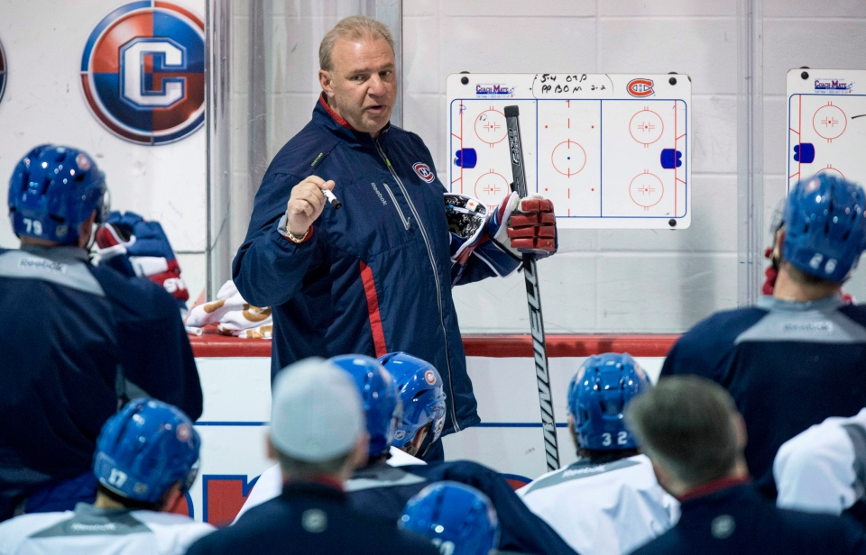 FILE: Montreal Canadiens head coach Michel Therrien gives instructions during a practice. THE CANADIAN PRESS/Paul Chiasson