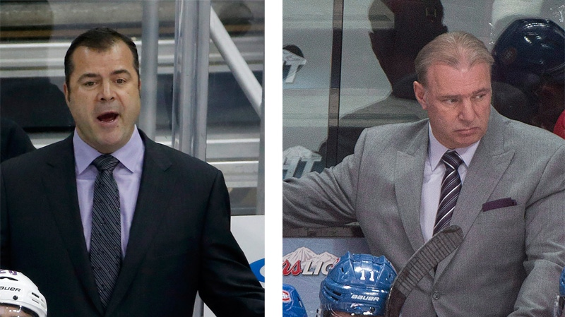 Rangers' coach Alain Vigneault (left) and Canadiens' coach Michel Therrien differ over the protocol involved in watching their opponent's practice. (CP file photos)