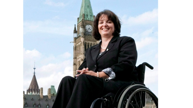 Quebec NDP MP Manon Perreault is shown on Parliame