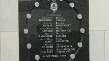 A commemorative plaque bears the names of the 14 women killed at Montreal's Ecole polytechnique on December 6, 1989. (CP PHOTO/Ryan Remiorz)