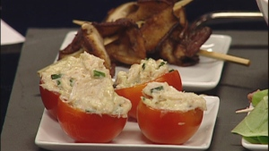 Susan Semenak shows off stylish appetizers including these Crab-stuffed cherry tomatoes (Dec. 14, 2011)