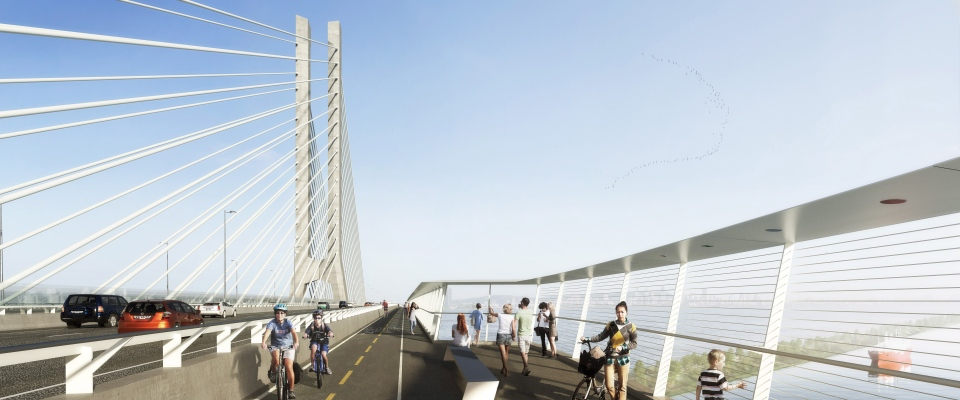The design for the proposed new Champlain Bridge is shown in an artist's rendering, released on Saturday May 31, 2014 in Montreal. (HO, Infrastructures Canada-Alexis Fortin Robitaille/THE CANADIAN PRESS)