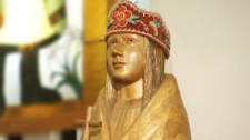 A statuary likeness of Kateri Tekakwitha at St. Francis Xavier Church
