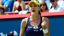 Agnieszka Radwanska reacts during Rogers Cup final