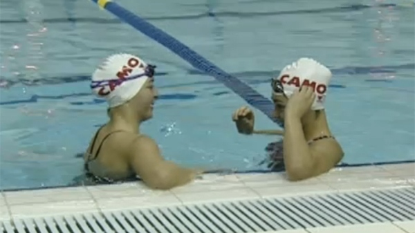 Marie-Eve and Frederique Cigna are making waves as top notch swimmers. (Jan. 19, 2012)