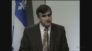 Lucien Bouchard talks to anglophones at the Centaur Theatre on March 12, 1996.