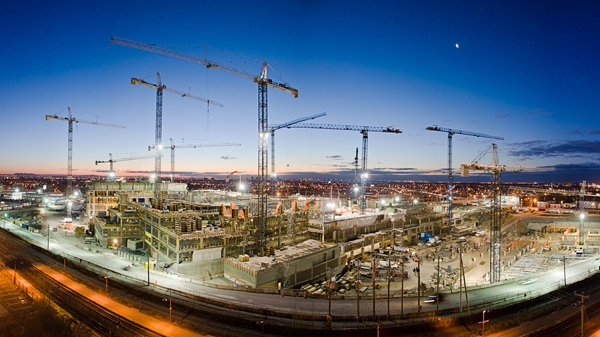 The MUHC provided this wide-angle photo of the superhospital campus under construction.