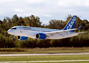 Bombardier's C-Series100 takes off on its maiden test flight at the company's facility in Mirabel, Que. on September 16, 2013.  (Ryan Remiorz / THE CANADIAN PRESS)