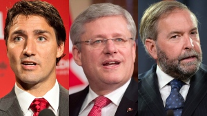 Liberal Leader Justin Trudeau, left to right, Prime Minister Stephen Harper and NDP Leader Thomas Mulcair in a combination photo. (Jason Franson / Sean Kilpatrick / Adrian Wyld / THE CANADIAN PRESS)