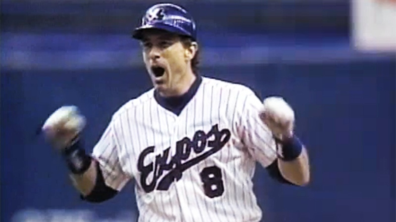Gary Carter, seen here after hitting a double in his final major league at bat in Montreal, September 1992.