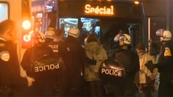 Police arrested 37 people during a protest at CEGEP du Montreal overnight Thursday. (CTV Montreal)