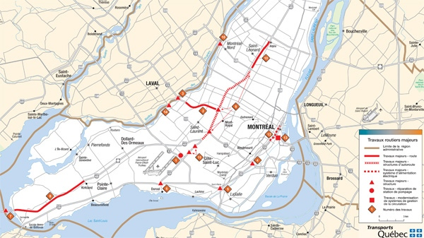 A map of Transport Quebec construction work planned for 2012-2013 in Montreal.