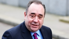 Scotland's First Minister Alex Salmond, arrives for a meeting with Britain's Prime Minister David Cameron,at St Andrew's House in Edinburgh, Scotland Thursday, Feb 16, 2012.