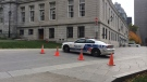 Access to the parking lot on the north side of Montreal City Hall was restricted (Oct. 22, 2014)