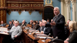 Quebec Premier Philippe Couillard makes a statement in regarding the shooting at the Parliament in Ottawa, Wednesday, October 22, 2014 at the legislature in Quebec City. THE CANADIAN PRESS/Jacques Boissinot