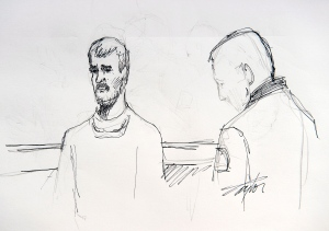 Justin Bourque is depicted in an artist's sketch at his sentencing hearing at Moncton Law Courts in Moncton, N.B. on Tuesday, Oct. 28, 2014. (Carol Taylor / THE CANADIAN PRESS)