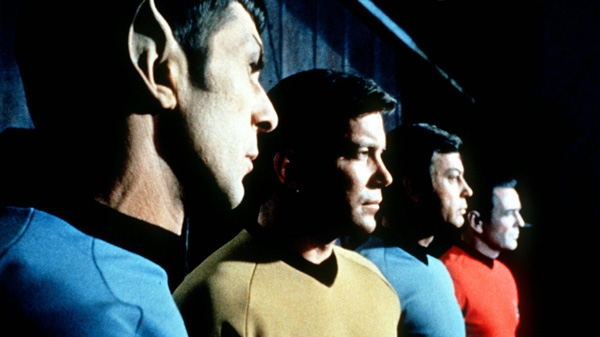 "This undated file photo shows actors in the TV series ""Star Trek,"" from left, Leonard Nimoy as Commander Spock, William Shatner as Captain Kirk, DeForest Kelley as Doctor McCoy and James Doohan as Commander Scott. (AP / Paramount Television)"