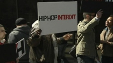 A protest was held at the Montreal courthouse today over a ban on hiphop music at a Pointe-Claire bar.