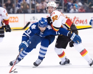 Toronto Maple Leafs forward Nazem Kadri (43) forces his way past Calgary Flames forward Paul Byron (32) during second period NHL hockey action in Toronto on Tuesday, December 9, 2014. (Nathan Denette/THE CANADIAN PRESS)