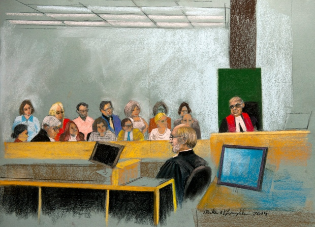 An artist's sketch shows Quebec Superior Court Justice Guy Cournoyer instructing the jury at the murder trial for Luka Rocco Magnotta in Montreal, Monday, Dec. 15, 2014. (Mike McLaughlin / THE CANADIAN PRESS)
