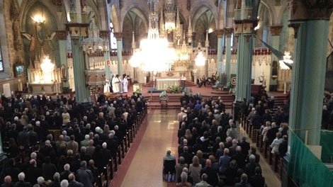 The funeral for Emile Bouchard was held in Longueuil on Saturday, April 21, 2012.