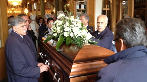 Emile Bouchard is laid to rest on April 21, 2012 (CTV Montreal/ Jean-Luc Boulch)